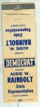 Image of Audie W. Rainbolt : State Representative, Floyd County [matchbook] -
