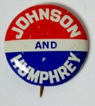 Image of Johnson and Humphrey political button - Button, Political