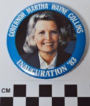 Image of Martha Layne Collins inauguration button - Button, Political