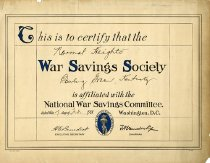 Image of War Savings Society Certificate - Unknown