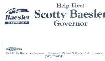 Image of Scotty Baesler for Governor [political card] -