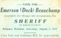 Image of Emerson (Doc) Beauchamp for Sheriff [political card] -