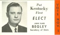 Image of Judge Elmer Begley Secretary of State [political card] -