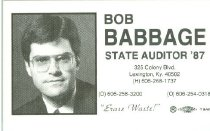 Image of Bob Babbage State Auditor '87 [political card] -
