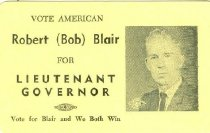 Image of Vote American: Robert Blair for Lieutenant Governor [political card] - Committe for Walter Baker