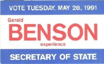Image of Gerald Benson for Secretary of State [political card] - Committe for Walter Baker