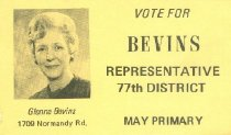 Image of Glenna Bevins for Representataive, 77th District [political card] - Committe for Walter Baker