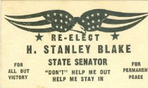 Image of Re-elect H. Stanley Blake, State Senator [political card] - Committe for Walter Baker