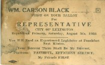 Image of William Carson Black for Representative of City of Lexington [political card] - Committe for Walter Baker