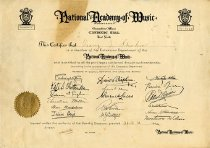 Image of National Academy of Music Certificate - Unknown