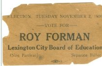 Image of Roy Forman, Lexington City Board of Education [political card] - Committe for Walter Baker