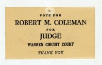 Image of Vote for Robert M. Coleman  -