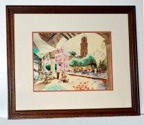 Image of KM2016.11.2 - Watercolor of plaza in Mostaginum, Algeria