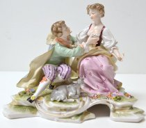 Image of KM2016.17.7 - Volkstedt Couple with Goat Figurine