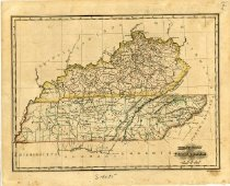 Image of Kentucky and Tennessee State Map -