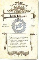 Image of Dannie Belle Jones memorial card