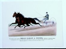 "Image of Great Pole Mares Belle Hamlin and ""Justina"" Trotting to Skeleton Wagon, The"