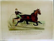 Image of Lenore B. and Sidney A. Alpert Currier & Ives Collection - Celebrated Trotting Mare Huntress beating Dutchman's 3 mile time, The