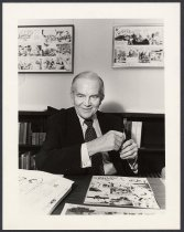 Image of [Milton Caniff at the Milton Caniff Research Room in the OSU Journalism Building] - Martin, Doug