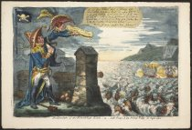 Image of Destruction of the French Gun Boats-or- Little Boney & his Friend Talley in high Glee - Gillray, James, 1756-1815