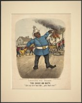 """Image of Darktown Fire Brigade.  The Chief, on Duty.  """"Lite up dem hose dar___yous heah me!"""" - Currier & Ives"""