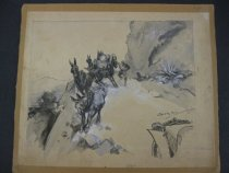 Image of [Car frightens horses pulling a cart on a mountain road] - Raven-Hill, Leonard, 1867-1942