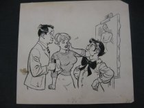 Image of [Al Capp with a crying woman [Al Capp character?] talking to indignant artist, portrait on an easel] - Capp, Al, 1909-1979
