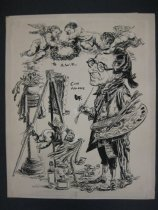 Image of [Arthur William Brown dressed as a colonial artist at an easel, cherubs surround him] - Fawcett, Robert,  1903-1967