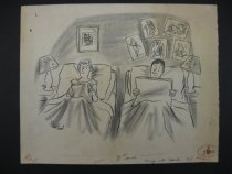 Image of [Couple reading magazines in two single beds, pin up girls behind man's bed] - Hunt, Stan, 1929-2006
