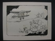 Image of [Airplane landing in a farmyard] - Wells, Peter, 1912-1995