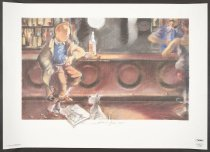 Image of [Tintin and Snowy in bar mourning Herge] - Fort, Esteve