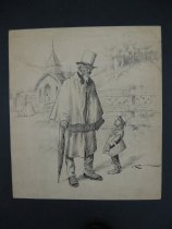 Image of [African American man talking to African American boy outside a church] - McAuley, Charles Raymond, 1871-1934