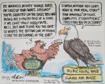 "Image of ""Be warned, mighty Yankee bird..."" - Aguila, Dani, 1928-"