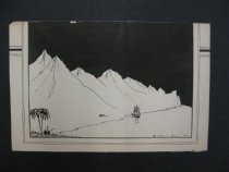 Image of [Mountains, ship, natives under a palm tree] - Van Loon, Hendrik Willem, 1882-1944