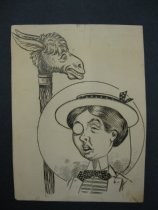 Image of [Woman with hat and monocle, camel like animal with tall neck] - Howarth, F.M., 1865-1908