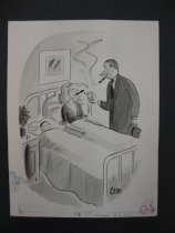 Image of [Man lights a cigar for his wife in a hospital bed with baby] - Martin, Charles E., 1910-1995