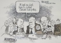 Image of At least we don't have to defend Clinton's Haiti policy - Luckovich, Michael, 1960-