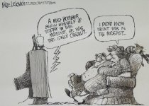 Image of A mad bomber blew himself up today in the Mideast. He was the only casualty... - Luckovich, Mike, 1960-