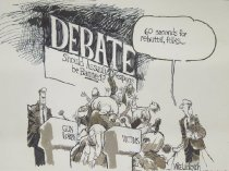 """Image of 60 seconds for rebuttal, folks.... """"Grey Poupon?.."""" - Luckovich, Mike, 1960-"""