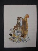 Image of [Depressed middle aged man sitting on horn of plenty] - Wilson, Rowland Bragg, 1930-2005