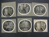 Image of [6 numbered captionless drawings tell a story of an angel and a devil on a date] - Andriola, Alfred, 1912-1983