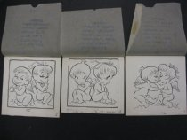 Image of [3 drawings of a boy and girl angel, d) is a drawing of monkeys cuddling] - Andriola, Alfred, 1912-1983