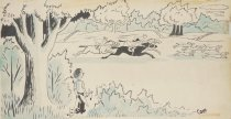 Image of [Boy holding a catapult and a dead fox watching the hunt go by] - Martin, Charles E., 1910-1995