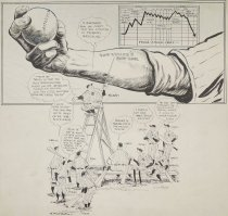 Image of And no chance for the Yankee clinic to operate...Bob Feller's soup bone - Mullin, Willard, 1902-1978