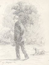 Image of [Man carrying a basket walking with dogs] - Taylor, Charles Jay, 1855-1929