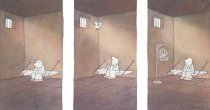 Image of [Prisoner in a cell, bird in a cage] - Fiddy, Roland, 1931-1999