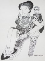 Image of [Imelda and Ferdinand Marcos sitting in a shoe] - Shaker, Ihab