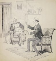 Image of [Men sitting in a livingroom, one gesturing to the other who is smoking] - Ehrhart, Samuel D., 1862?-1920?