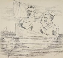 Image of The three wise men of Wisconsin. Another submarine mine explosion is expected soon. - Van Leshout, fl. 1910