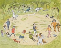 Image of [Dogs in the ring at an outside dog show] - Gurney, Eric, 1910-1992